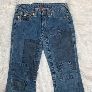True Religion Joey Patch Jeans Bell Bottom Boho